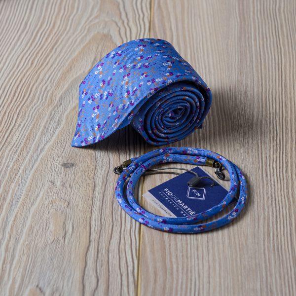 Corbata y cordón Fio de Martié Azul